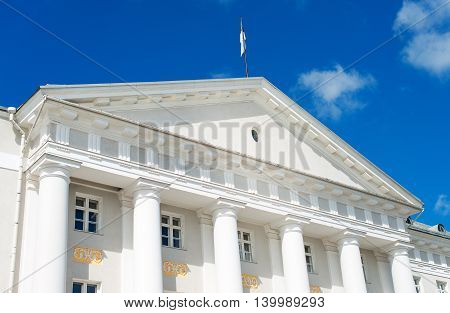 University of Tartu in summertime over sky