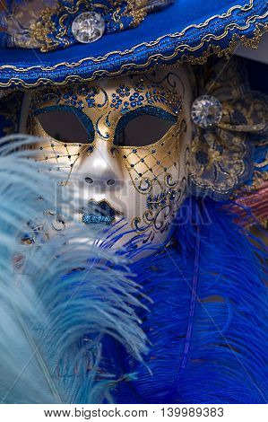 VENICE ITALY - JANUARY 24 2016: Typical colorful mask from the venice carnival Venice Italy 2016.