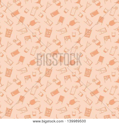 Seamless background pattern of drinks and beverages icons