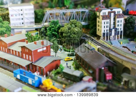City in miniature. Houses, cars and trees.