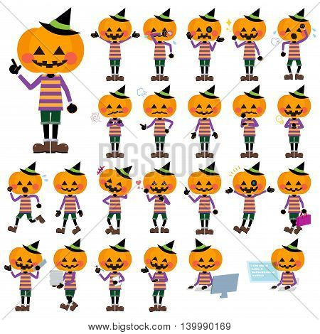 Set of various poses of jack-o-lantern set