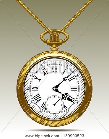 Gold Old clock on a chain. Retro pocket watch. Vintage engraving colored stylized drawing. Vector Illustration