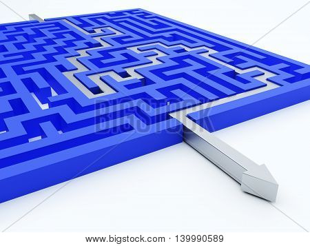 Silver arrow in blue maze. 3d illustration.