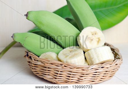Banana Fruit Sliced On Plate With Leaf