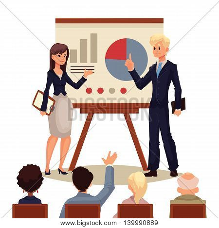 Businessman and businesswoman giving presentation with a board, sketch style vector illustration isolated on white background. Male and female managers presenting a chart to a group of people