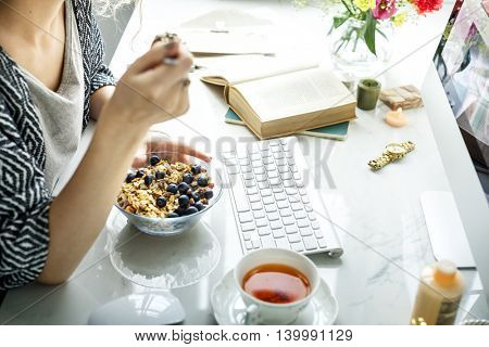 Morning Eating Breakfast Keyboard Book Concept