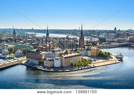 Scenic view of the Old Town or Gamla Stan in Stockholm Sweden