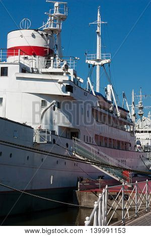 KALININGRAD RUSSIA - June 19: Museum of World oceanoutdoor exposition Research vessel Museum Vityaz on June 19 2016 in Kaliningrad Russia