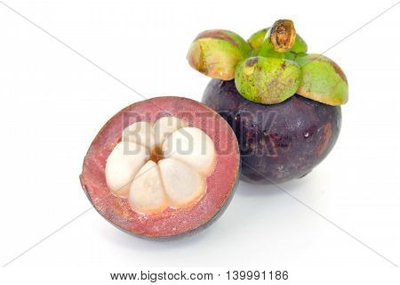 Mangosteen Fruit With Half Cross Section Isolated On White