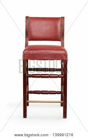 Vintage leather chair isolated on white with clipping path