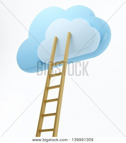 Cloud computing concept. Cloud with a ladder. 3d illustration.