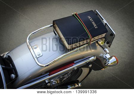 Bible Strapped On Motorcycle Ready to Go