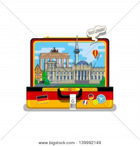 Concept of travel to Germany or studying German. German flag with landmarks in open suitcase. Flat design, vector illustration