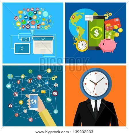 Set of business social media concepts. Businessman with a clock instead of a head. Businessman holding a mobile phone. Flat design, vector illustration.