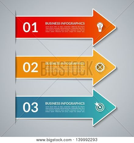 Colorful infographic arrows with white border. Vector banner with 3 steps, parts, options. Can be used for workflow layout, diagram, chart, report presentation, step by step infographics, web design.