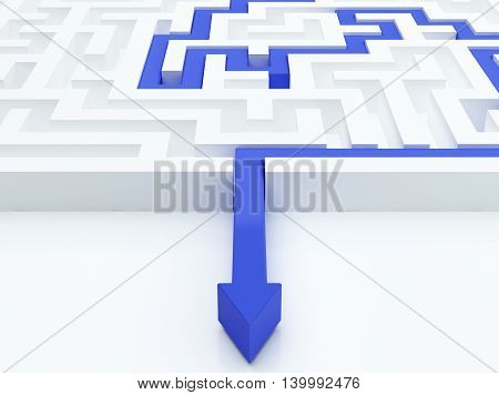 Blue arrow in a maze. 3d illustration.
