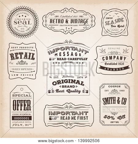 Illustration of retro and vintage hand-drawn business labels and signs including ancient fonts with old-fashioned seals badges certificates and sales tickets