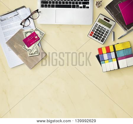 Laptop Calculator Cash Creditcard Concept