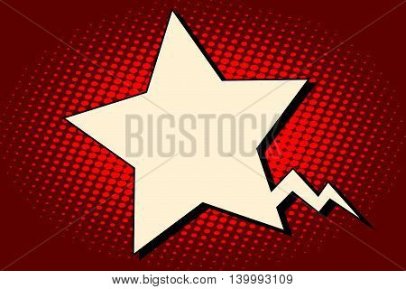 Comic bubble star silhouette pop art retro vector illustration. Army and patriotism