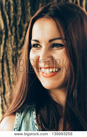 Portrait of a happy beautiful woman smiling
