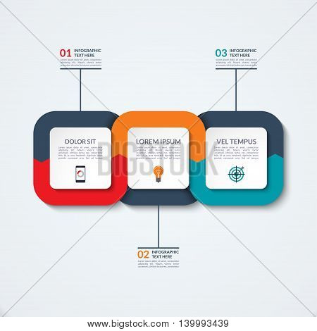 Abstract infographic template. Business concept with three options, steps, parts. Vector banner for timeline infographics, workflow layout, diagram chart, annual report, presentation, web design.