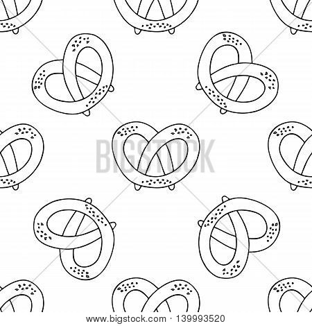 German pretzels seamless pattern on white background. Oktoberfest concept. Sketchy hand drawn doodle. Black and white abstract picture. Vector zentangle element. Antistress coloring book. Eps 10.