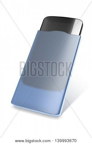 3d rendering of a smartphone in a blue case