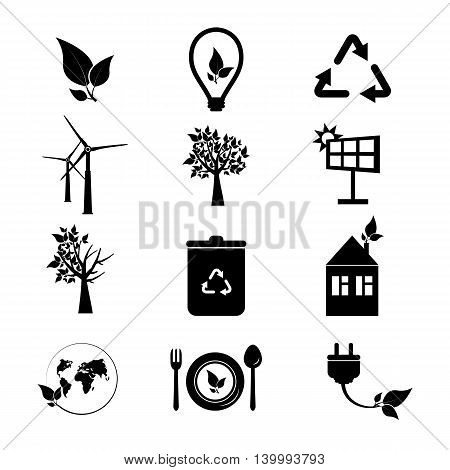 Ecology icons set. Collection of eco icons. Green planet icons illustration