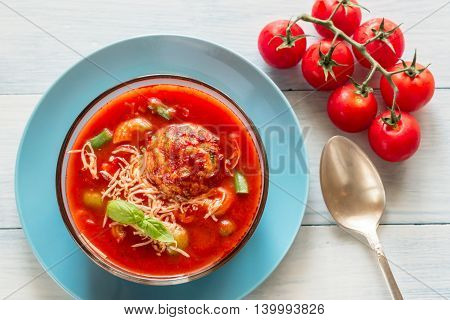 Portion Of Minestrone Soup With Meatball