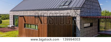 Modern House Made By Stone And Wood