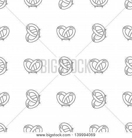 German pretzels seamless pattern on white background. Oktoberfest concept.