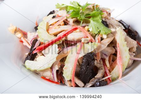 Celery salad with nuts fruits and mixed vegetables