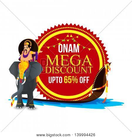Onam Mega Discount with Upto 65% Off, Illustration of King Mahabali on elephant and snake boat, Can be used as sticker, tag or label design.