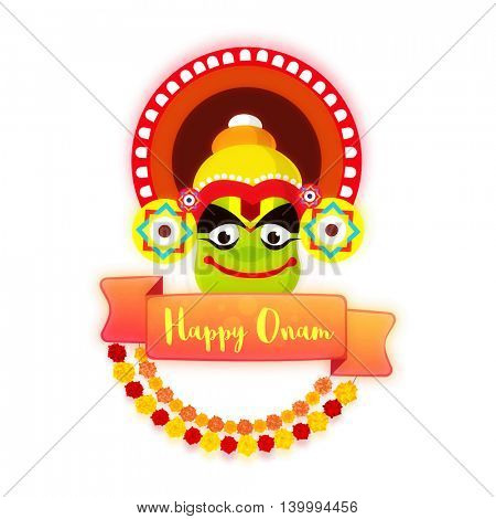 Creative illustration of Kathakali Dancer Face with glossy ribbon for Happy Onam celebration.