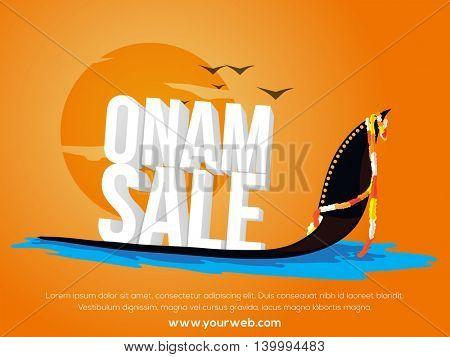 Glossy 3D text Onam Sale on Snake Boat, Creative Poster, Banner or Flyer design for South Indian Famous Festival celebration.