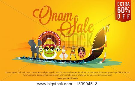 Onam Sale Poster, Banner or Flyer design, Creative illustration showing culture and tradition of Kerala on shiny yellow background.