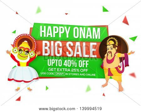 Big Sale with Upto 40% Off on occasion of Happy Onam celebration, Creative Poster, Banner or Flyer design with illustration of Kathakali Dancer and King Mahabali.