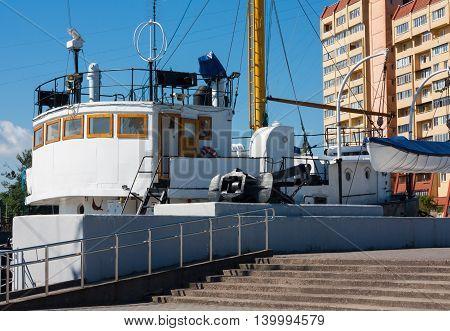 KALININGRAD RUSSIA - June 19: Museum of World oceanoutdoor exposition Fishing boat museum SRT-129 on June 19 2016 in Kaliningrad Russia