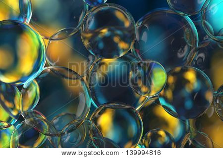 3d rendering background glass bubbles and transparent spheres with different size