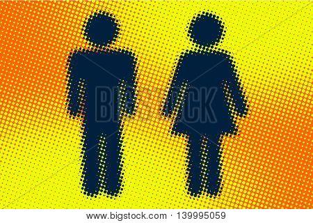Male and female WC icon pop art retro vector illustration