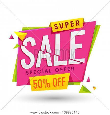 Super Sale Paper Tag or Banner with Special 50% Offer, Vector illustration, Useable for Poster, Banner, Flyer design.