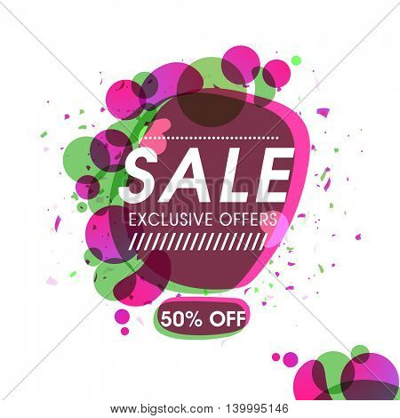 Exclusive Sale Offers, Poster, Banner, Flyer, Discount Upto 50% Off, Vector illustration with abstract design.