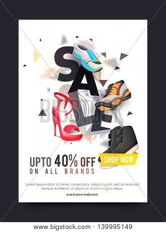 Sale and Discounts, Sale Poster, Sale Banner, Sale Flyer, Upto 40% off on all brands, Footwear Sale, Sale Typographical Background, Creative vector illustration of different styles shoes.