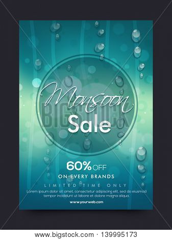 Monsoon Sale Poster, Sale Banner, Sale Flyer, 60% Off on every brands, Limited Time Only, Creative Sale background with water drops.