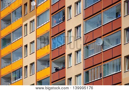 Detail of balconies in a block of flats