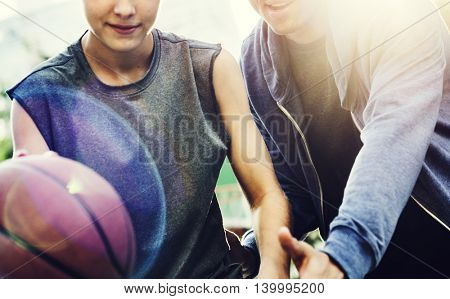 Playing Basketball Boy Defensce Concept