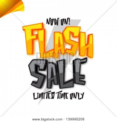 Flash Sale for Limited Time Only, Creative curled corner, Poster, Banner, Flyer or Pamphlet with stylish Typography.