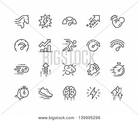 Simple Set of Performance Related Vector Line Icons. Contains such Icons as Power, Speed, Graph, Sprint, Boost, Brain, Gain and more. Editable Stroke. 48x48 Pixel Perfect.