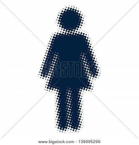 Woman icon blue blurred silhouette pop art retro vector illustration