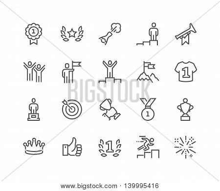 Simple Set of Winning Related Vector Line Icons. Contains such Icons as Laurel Branch, Like, Reward, Achievement and more. Editable Stroke. 48x48 Pixel Perfect.